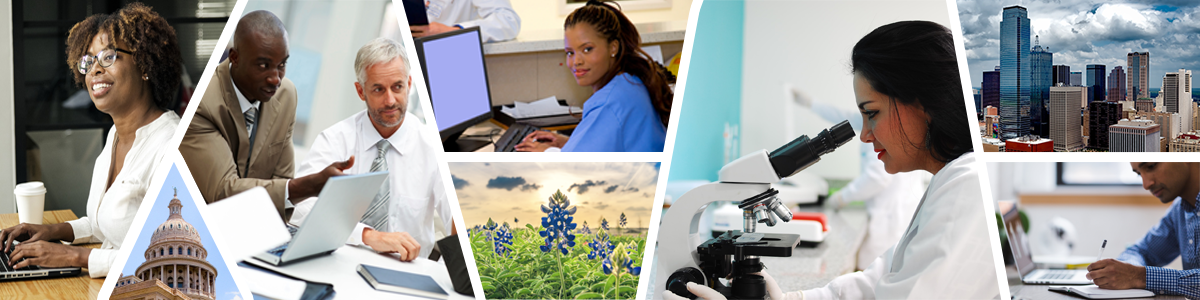 A collage including a woman on her laptop, the Texas state capitol, two men having a discussion in a meeting, a woman in scrubs at her computer, bluebonnet flowers in a field, a woman looking through a microscope, the Dallas city skyline, and a man taking notes in front of his laptop.
