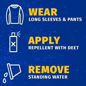 Stylized shirt, repellent spray bottle, and a bucket dumping water. 'Wear long sleeves & pants, apply repellent with DEET, and remove standing water.
