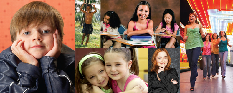 Photo collage of young kids and children