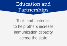 Education and Partnerships: Tools and materials to help others increase immunization capacity across the state