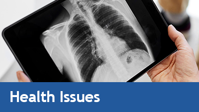Photo of lung x-ray and link to Health Issues page