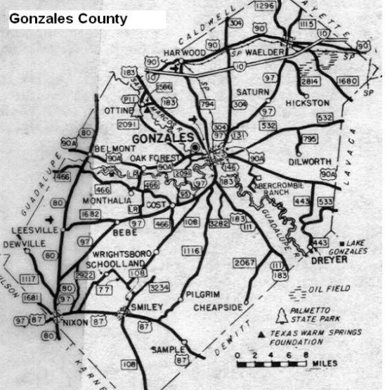 Gonzales County Texas Map