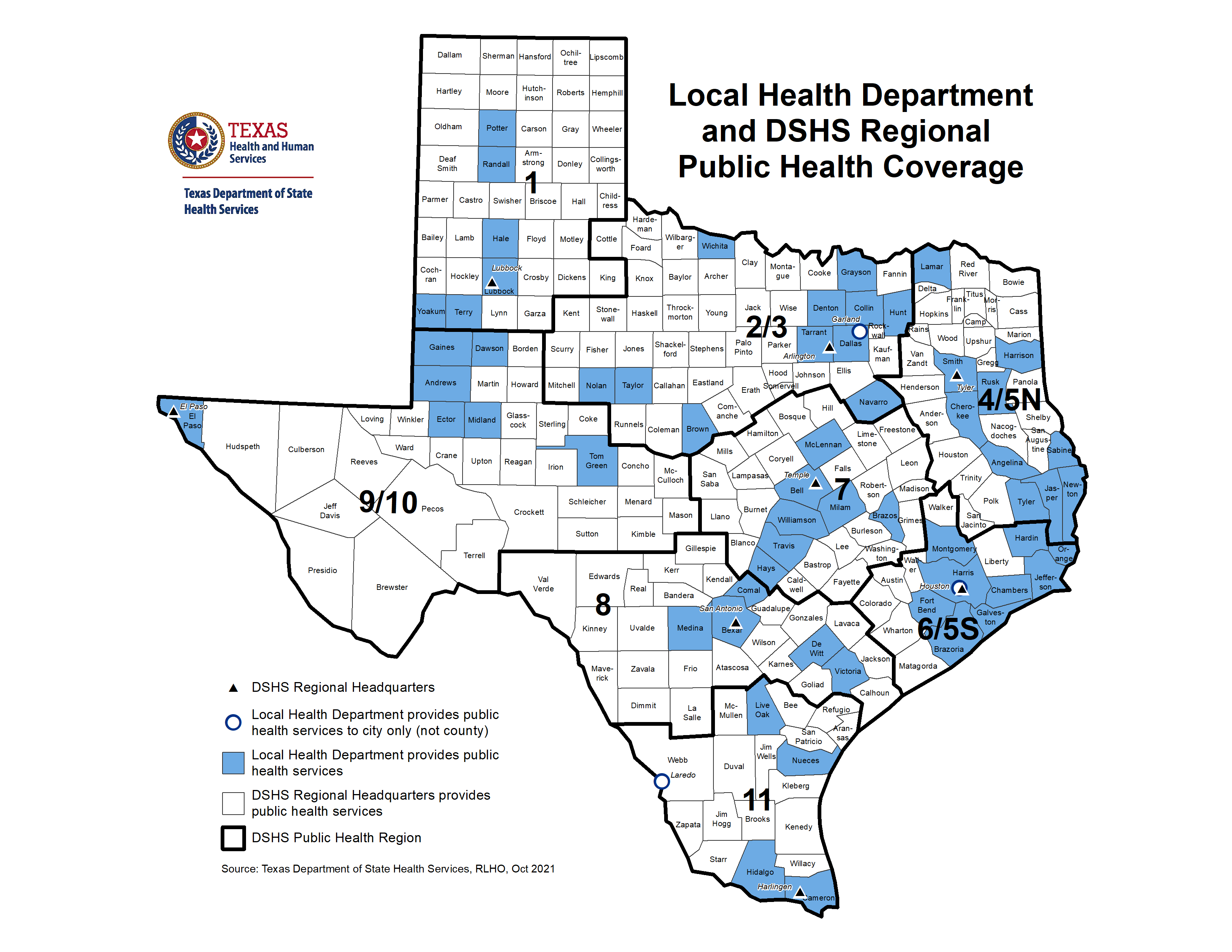 Texas Local and Regional Public Health Coverage Map Feb.2019